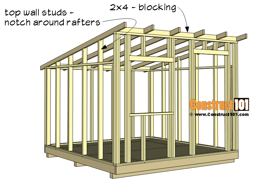 10x10 Lean To Shed Plans Construct101 Shed Frame 10x10 Shed Plans Shed Plans