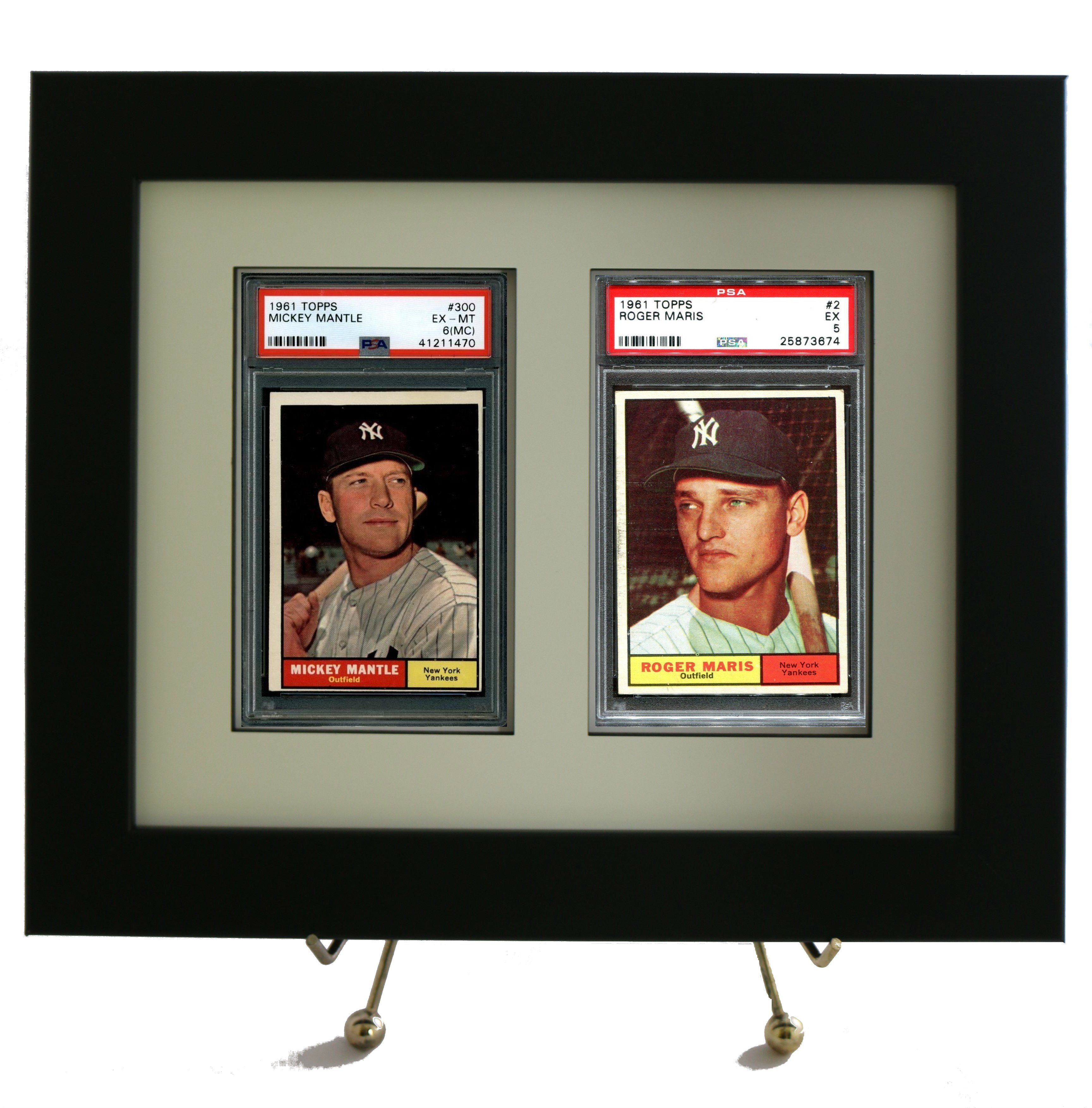 Framed Display For 2 Psa Graded Vertical Cards New 8x10 Size Baseball Card Displays Frame Display Sports Cards Display