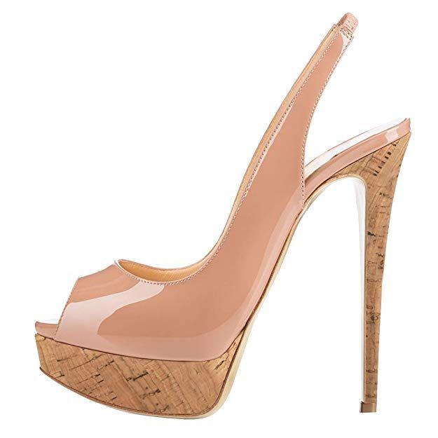 b5128593f2ce MERUMOTE Women s Slingbacks Peep Toe High Heels Shoes Platform Pumps  Gradient Wedding Party