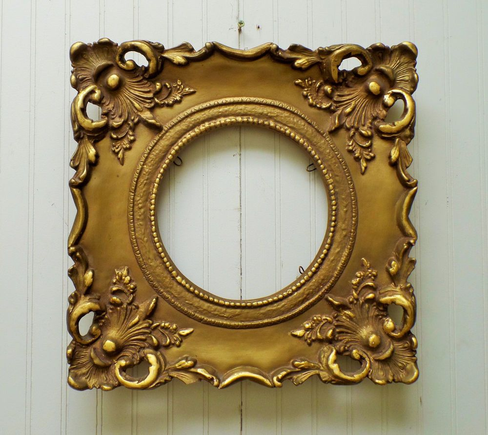 Ornate Vintage Art Deco Nouveau Gold Gilt Pierced Plaster Picture Mirror Frame Antique Picture Frames Mirrored Picture Frames Art Nouveau Antiques