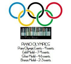 piano olympics. Incentive program with fun events to do in lesson using iPad and other piano exercises.