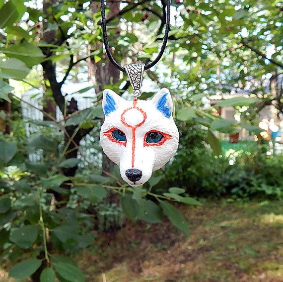 Okami Amaterasu Necklace, pendant, white wolf, Videogame,  Chibiterasu mini wolf, goddess Amaterasu from the game Okami, handmade of clay