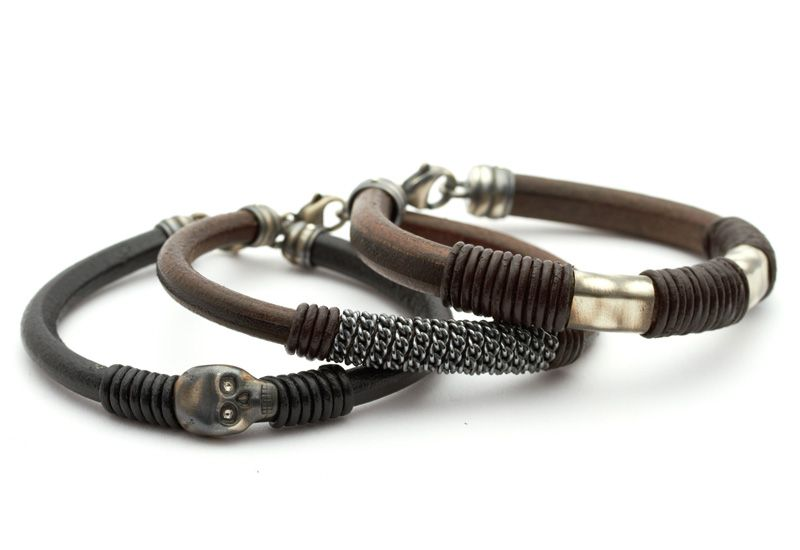 Mens bracelets with skulls and wraparound design from Unique Mens