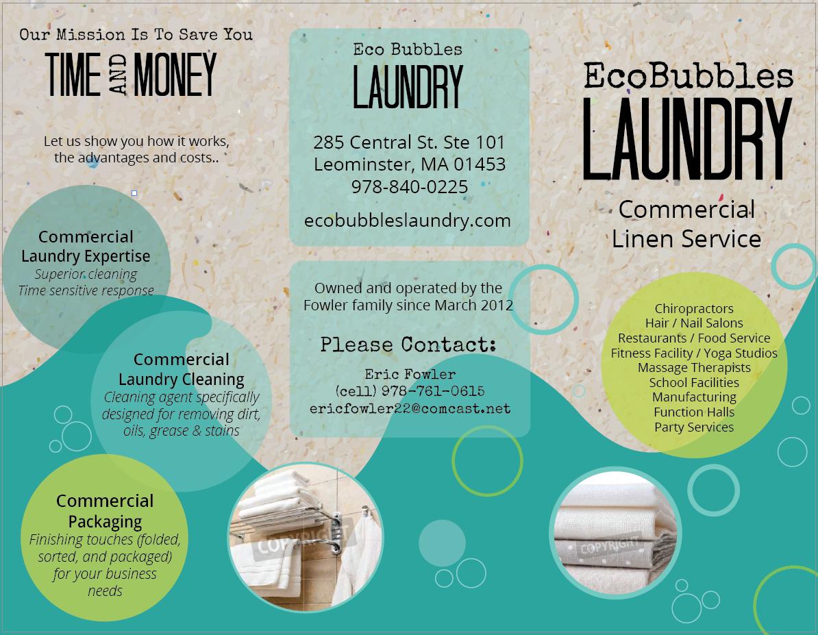 Laundry, ecofriendly, bubbles, brochure, typography