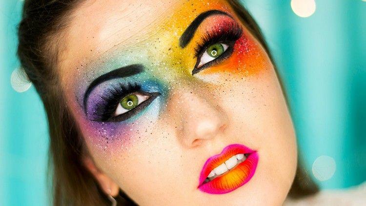 Regenbogen Make Up Schminkideen Fasching Bunt Makeup Einhorn In