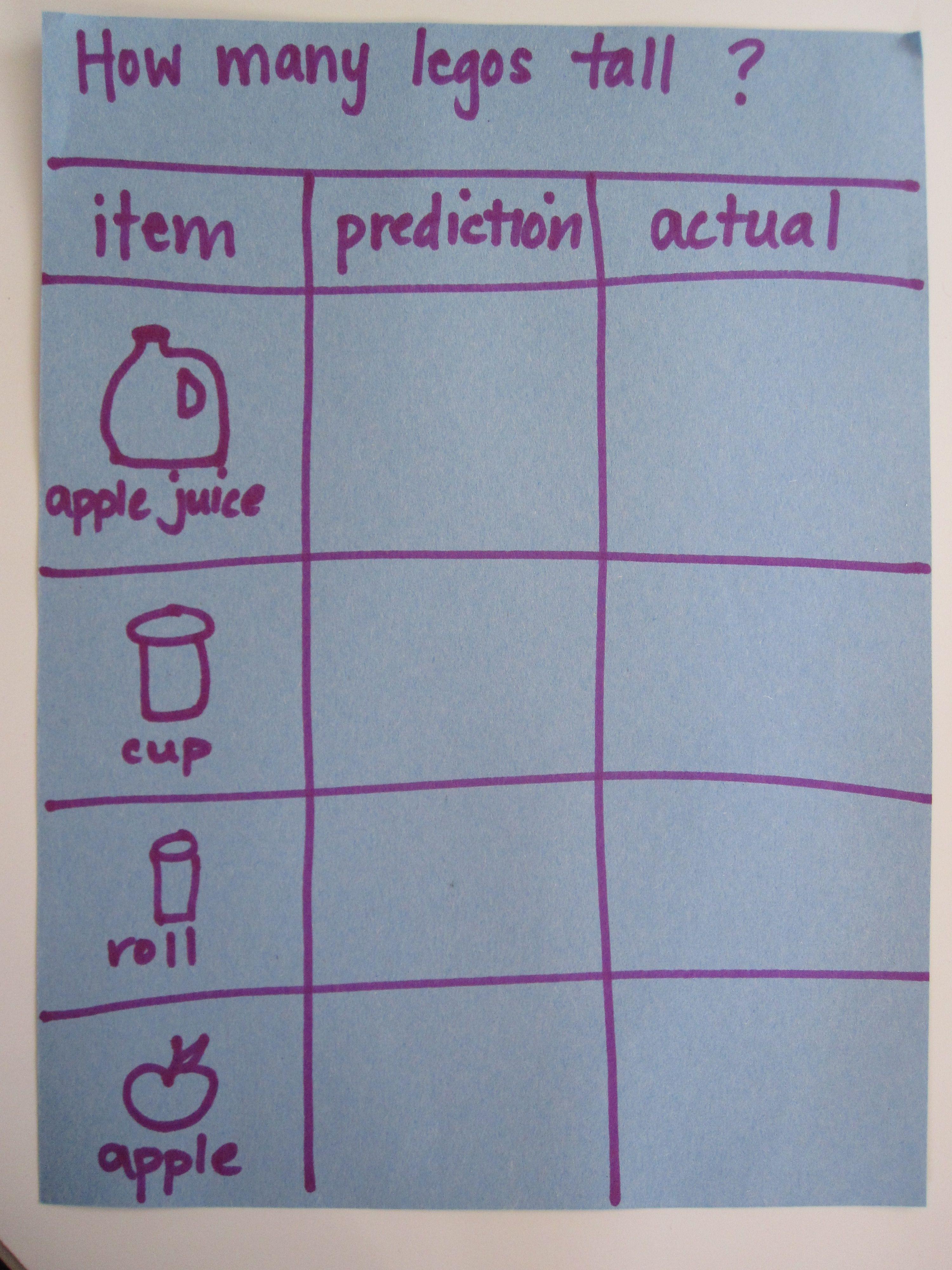 Preschool Math Lesson Lego Measurement