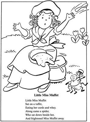 coloring page: inkspired musings: Little Miss Muffet