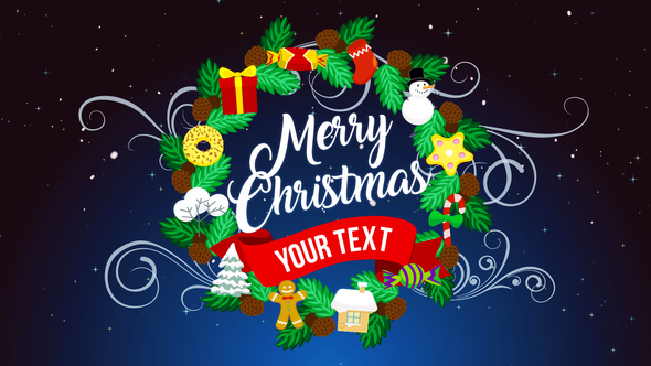 Christmas opener with 2d flat design templates for