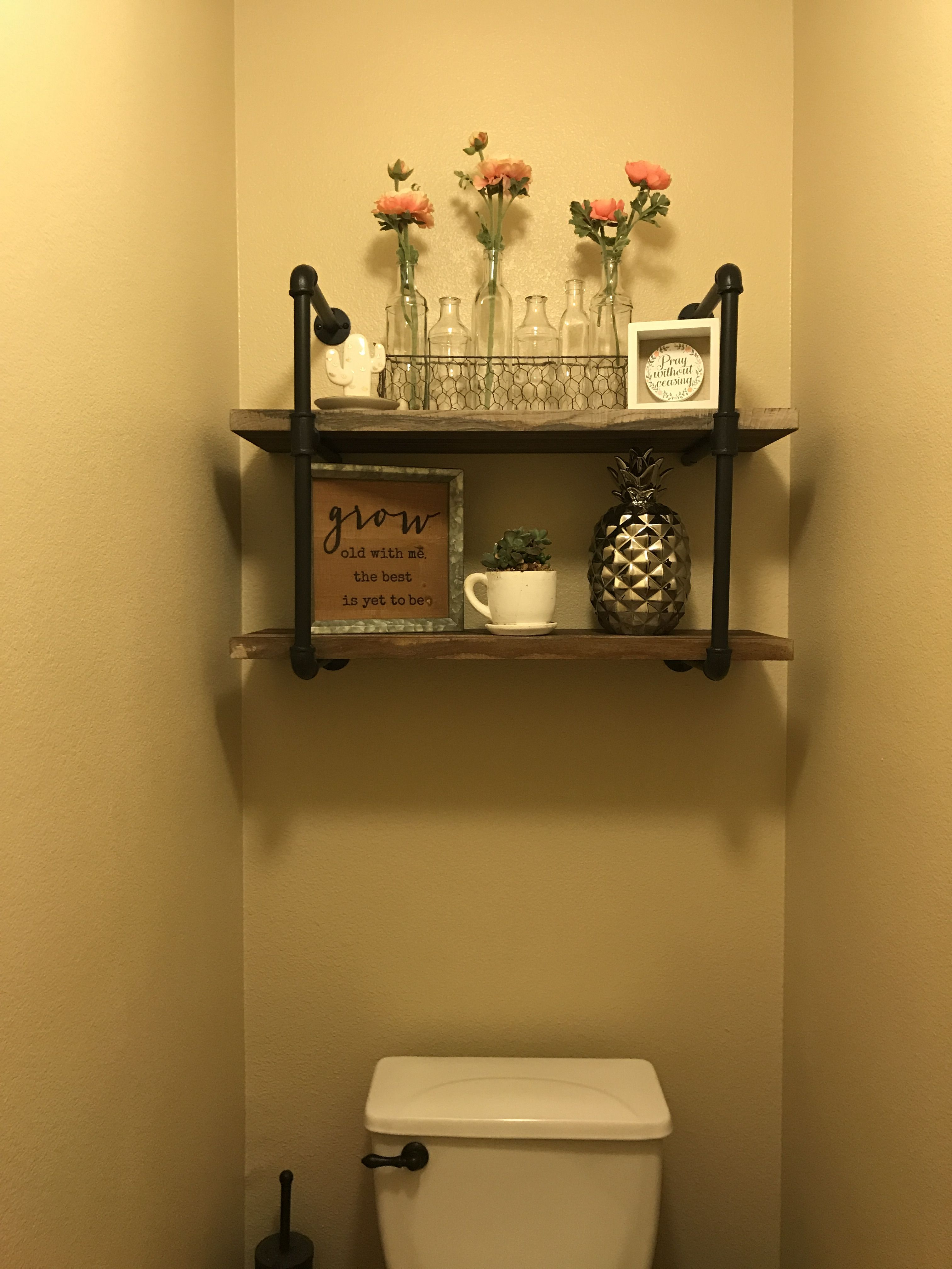 Industrial Looking Bathroom Shelf In My Master Bath Bathroom Shelves Shelves Shelf Design