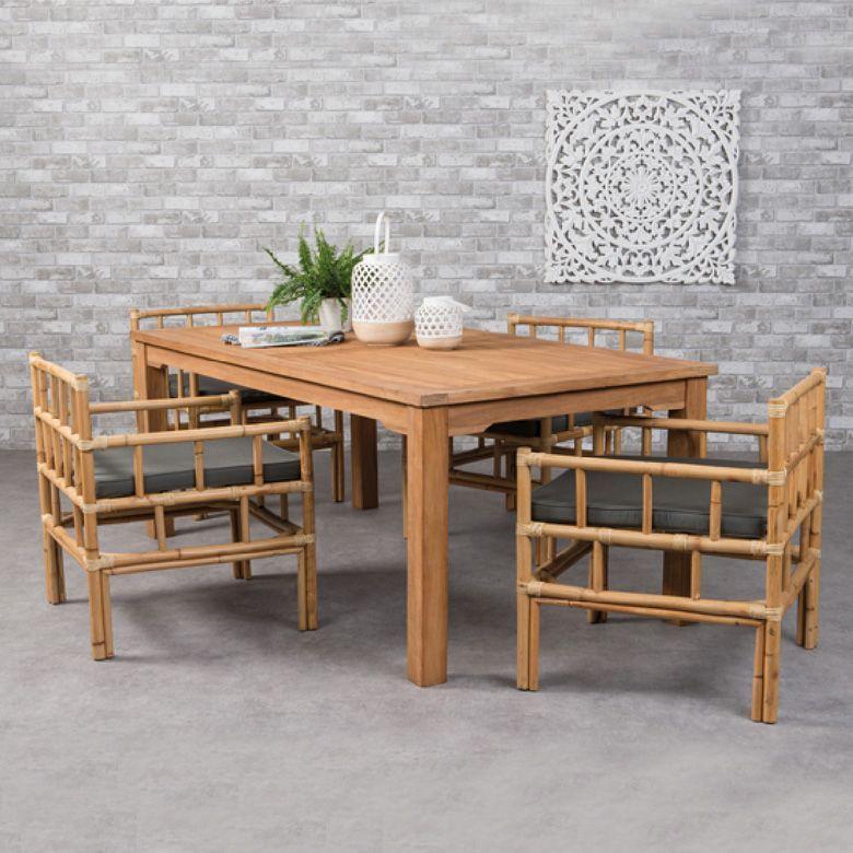 Table De Jardin Teck Ibiza 200 X 100 Cm Naturel Table Et