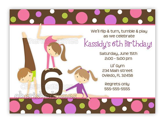 Gymnastics Girl Birthday Party Invitation With Picture Or Without U PrintBoy Available In This D