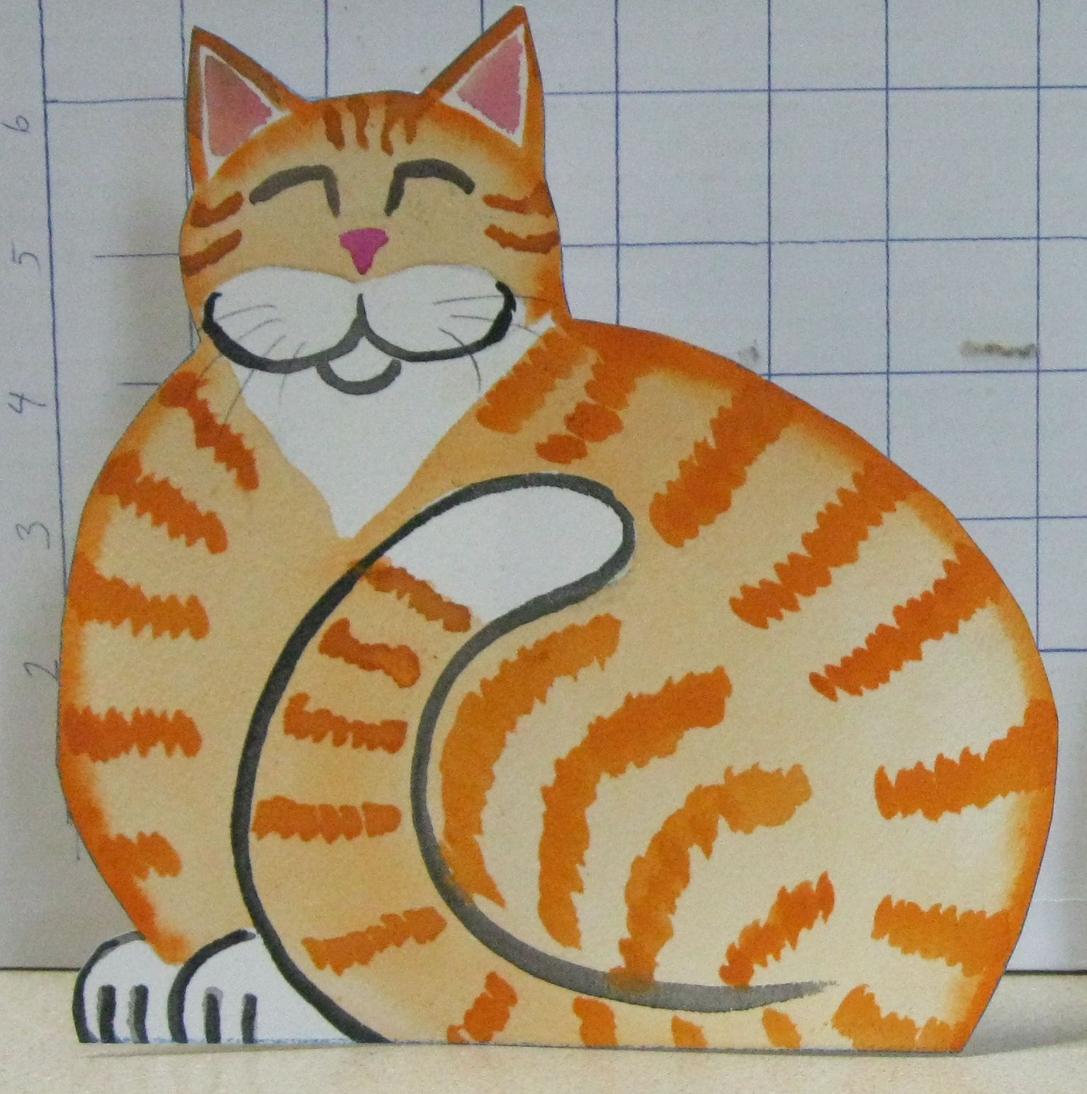 """""""Happy Orange Kitty""""  7"""" tall x 7"""" wide $9.99 ppd. to lower 48. Paypal"""