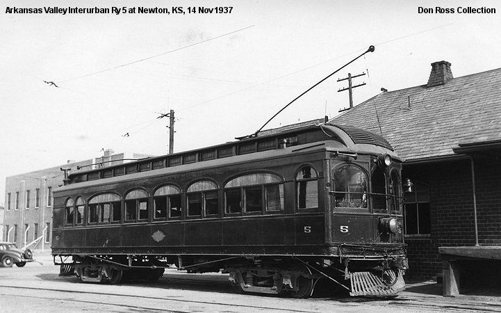 Arkansas Valley Interurban Ry. 5 was built by St Louis Car Co in 1911. It was rebuilt in 1917 and rebuilt as double end in 1922. It was retired in 1938. The body was sold and was at 53rd & Broadway.