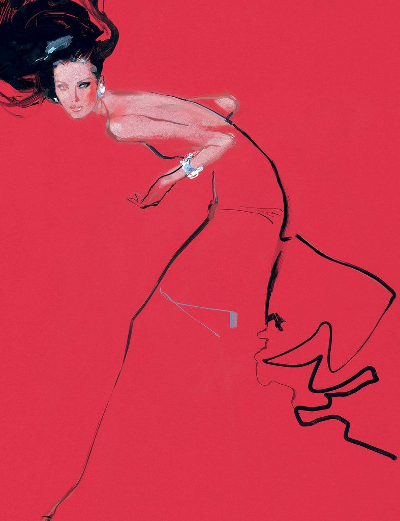 An illustration of a Valentino couture look byDavid Downton, a British illustrator.