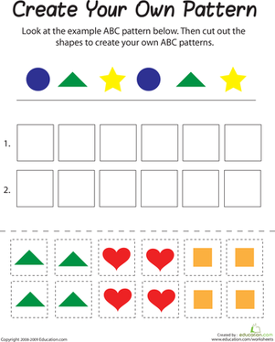 abc pattern educational k math shapes worksheet kindergarten pattern worksheet. Black Bedroom Furniture Sets. Home Design Ideas