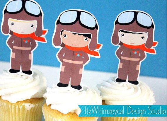 Aviator Airplane Pilot III Die Cut Cupcake Topper (One Dozen)