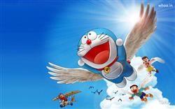 Doraemon Is Flaying In The Sky Hd Wallpaper Doraemon Famous Cartoon