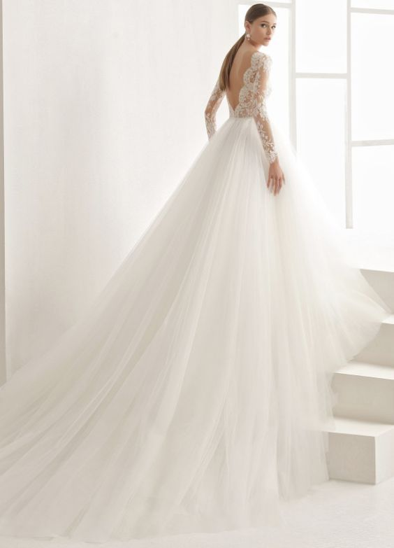Sheer Long Sleeve Low Back Tulle Ballgown Wedding Dress Modwedding Lace Wedding Dress With Sleeves Wedding Dress Couture Ball Gowns Wedding