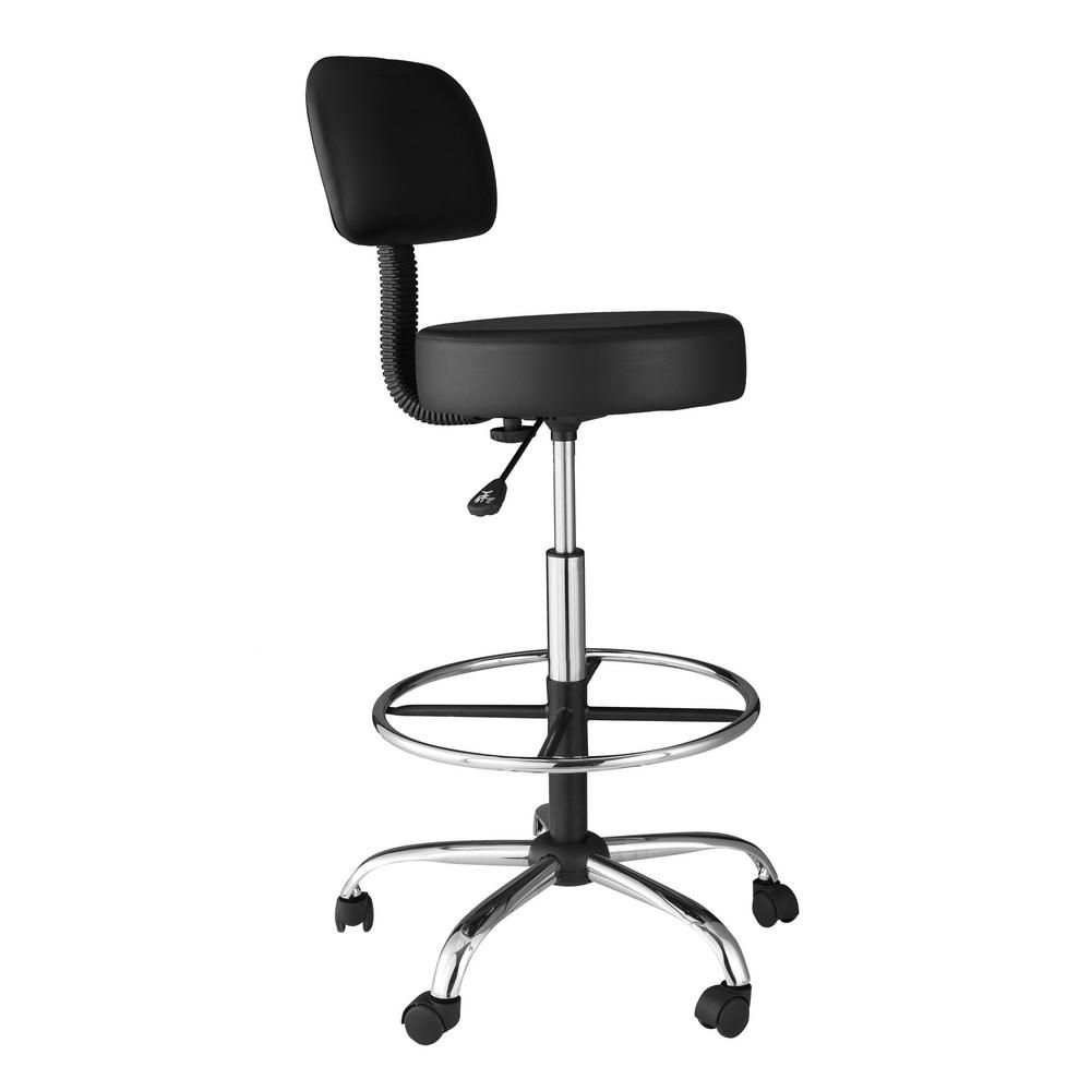 Magnificent Onespace Black Medical And Drafting Stool With Back Cushion Inzonedesignstudio Interior Chair Design Inzonedesignstudiocom