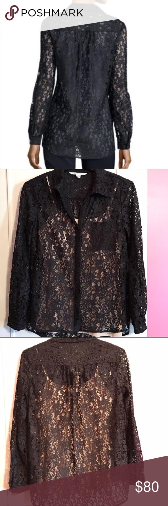 d143ca45fed72 DVF Black Lace Lorelei Two Sheer Button Up Top Absolutely stunning Diane  von Furstenberg black sheer