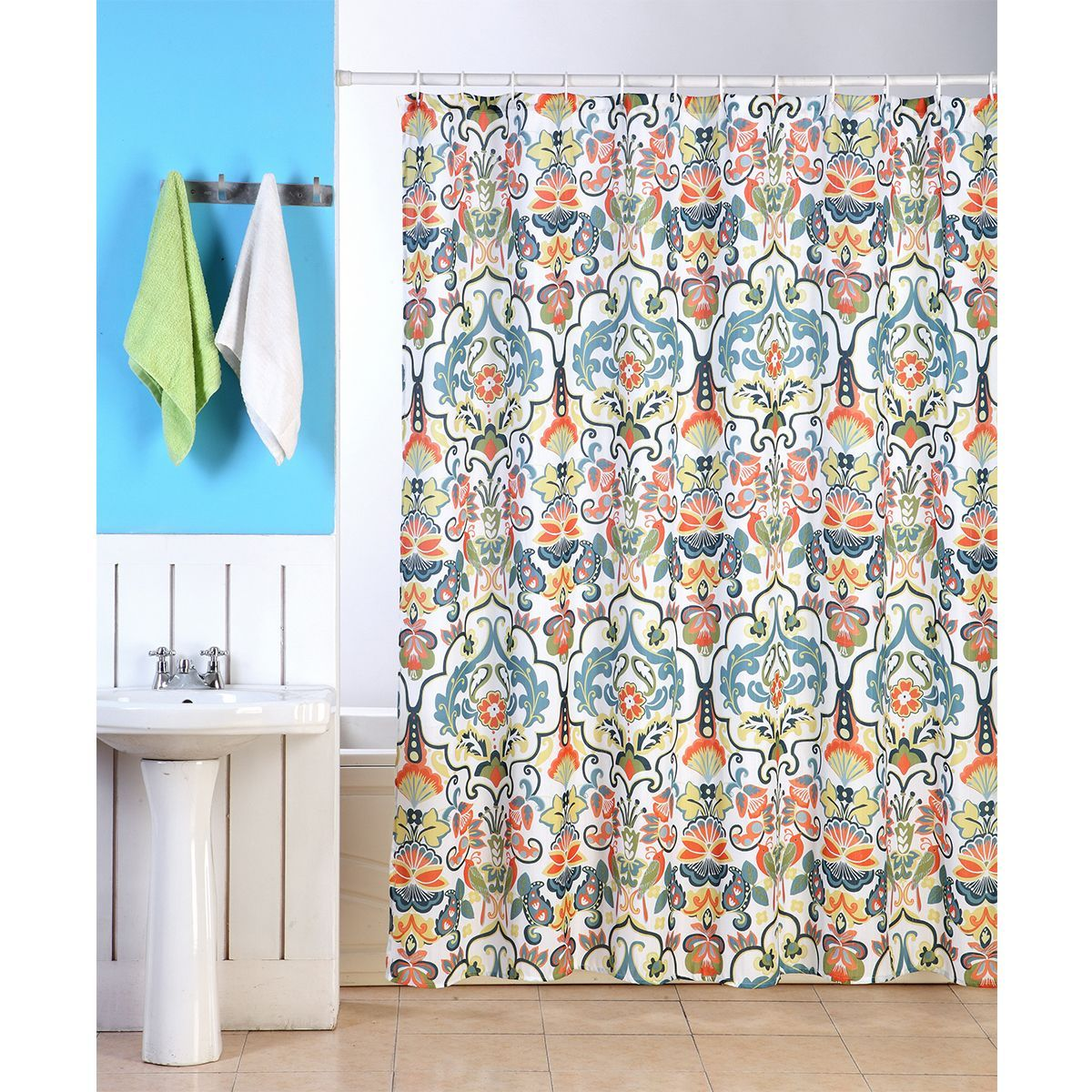 Emery Fabric Shower Curtain 70 X70 Colorful Floral Geometric