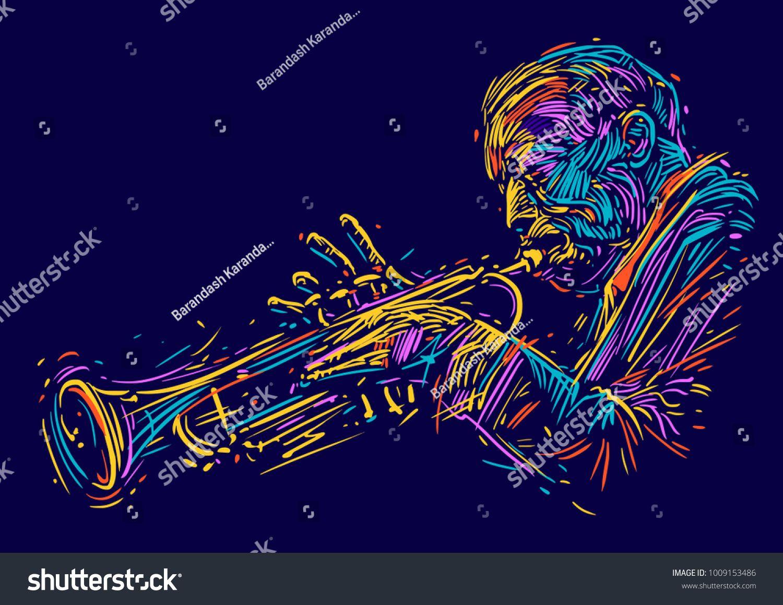 Jazz Trumpet Player Vector Illustration For Jazz Poster Ad Spon Player Trumpet Jazz Vector Jazz Poster Jazz Trumpet Vector Illustration