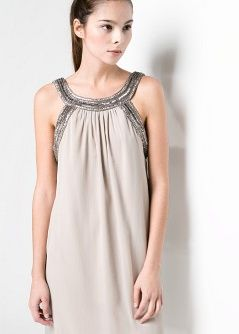 MANGO BEADED CHIFFON DRESS DRESS