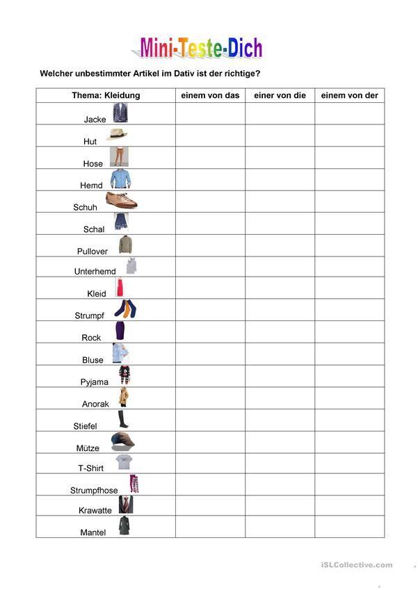 Mini-Teste-Dich: unbestim…   Kleidung, im Geschäft - DaF ...