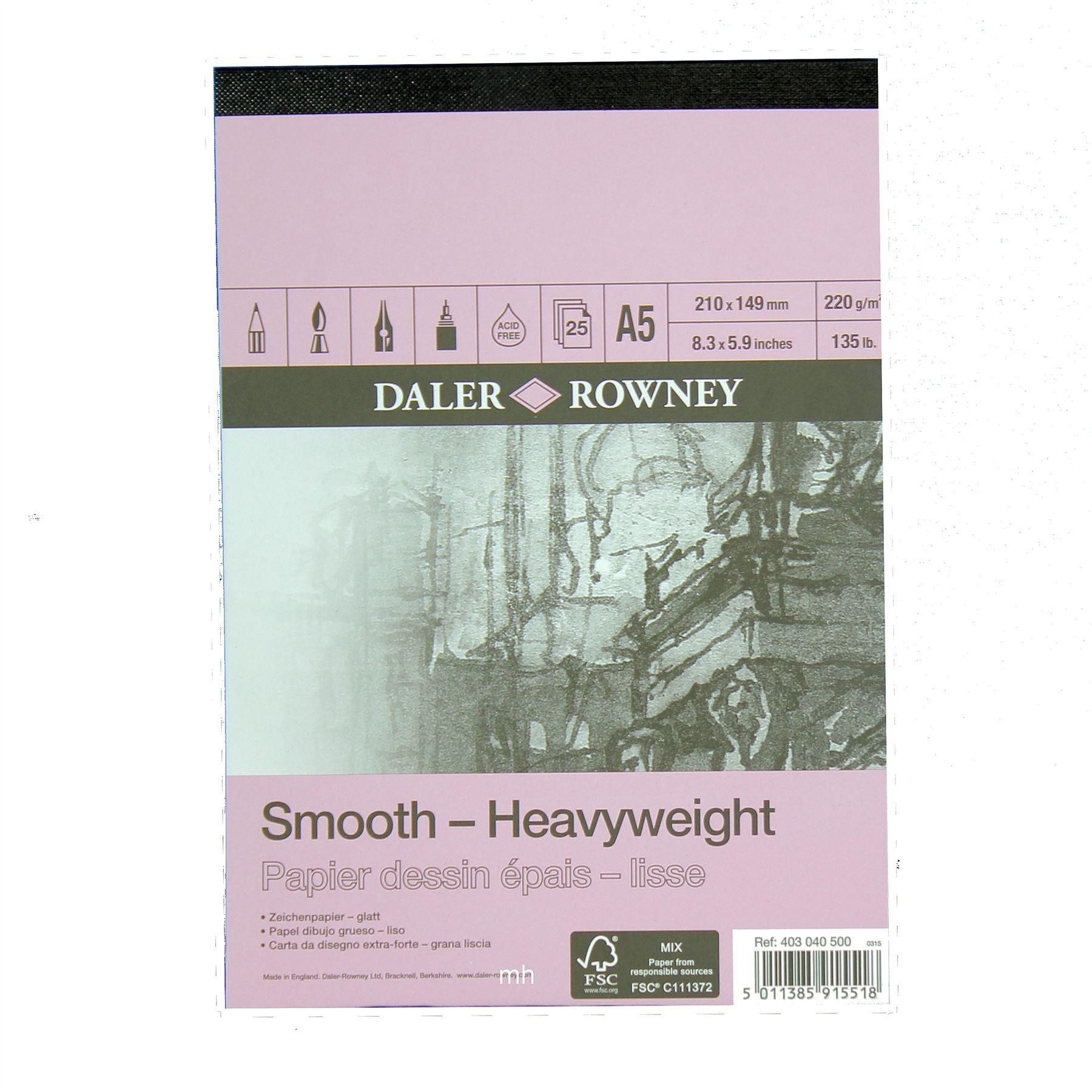 A5 Daler Rowney Smooth Heavyweight 220gsm Cartridge Pad