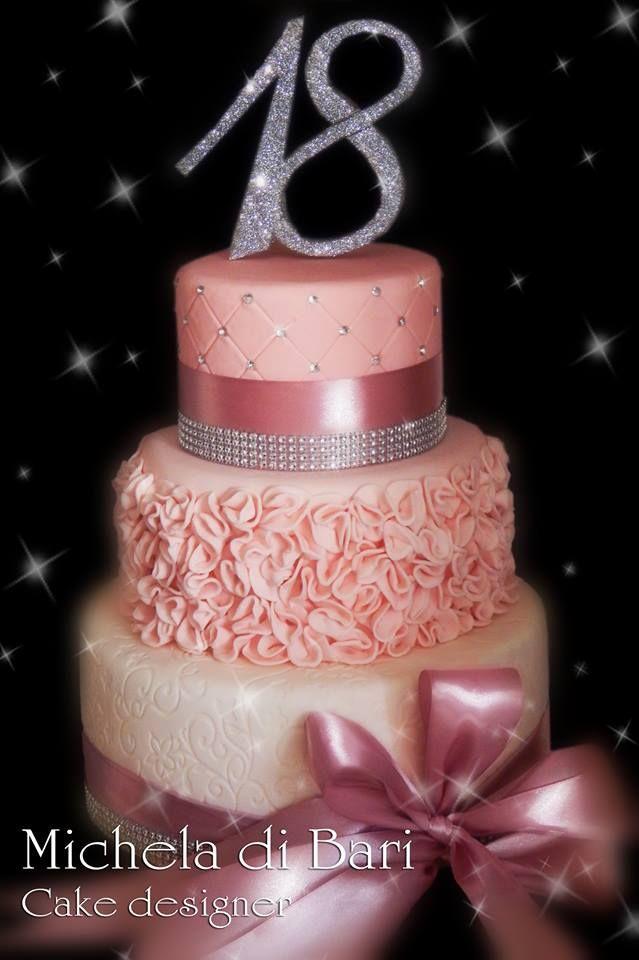 Michela di Bari Cake designer Torte Di Compleanno Rosa, 18 ° Festa Di  Compleanno,