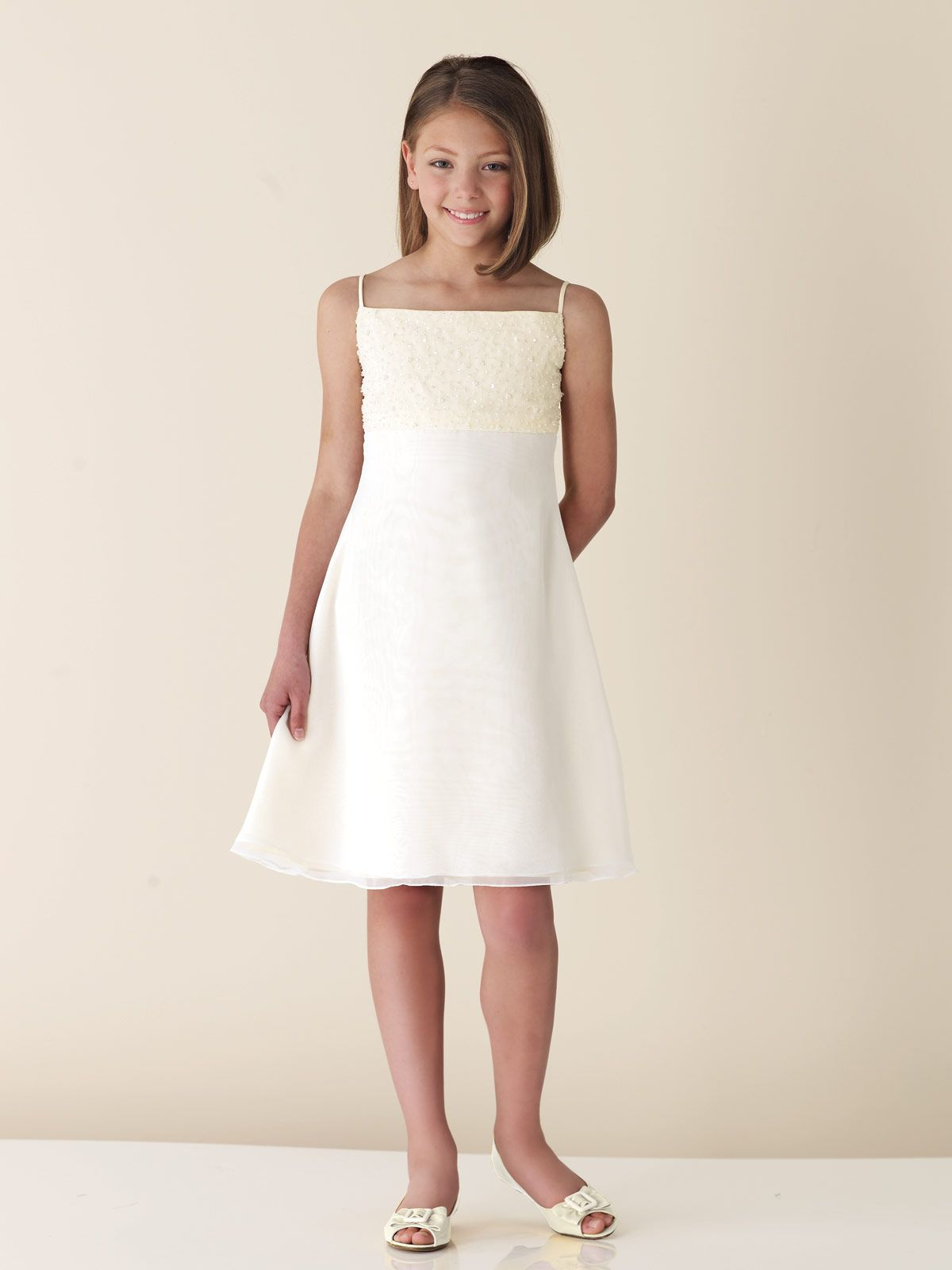 Youth Dresses Line Spaghetti Beaded Satin Junior Bridesmaid - Wedding Dresses For Teenage Girl