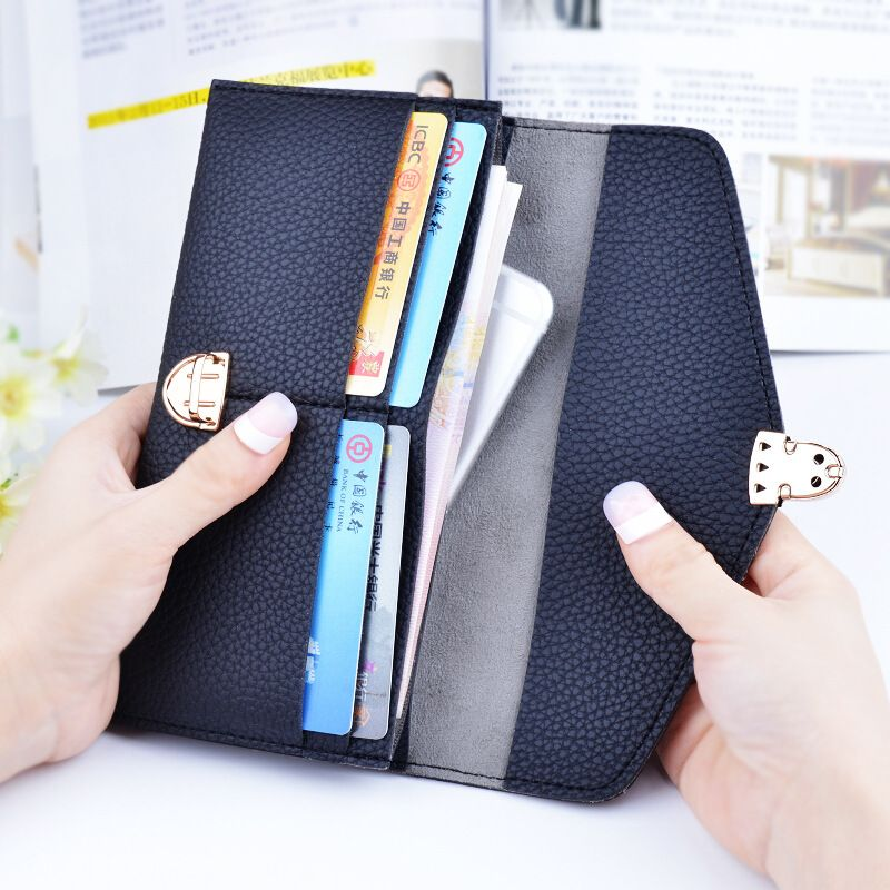 Ladies New Hasp Long Wallet Women High Quality Purse Lovely Money Pouch Business Card Holder Portfolios Woman Smart C Wallets For Women Money Pouch Phone Pouch