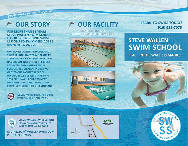 Brochure graphic design for wallen swim in el dorado hills