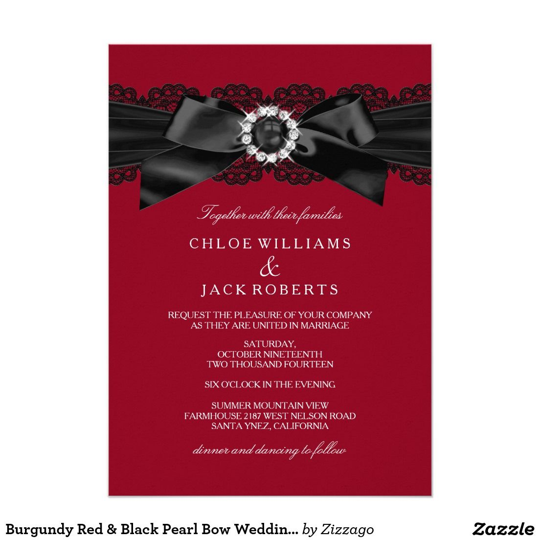 Burgundy Red & Black Pearl Bow Wedding Invite | Bow wedding, Red ...