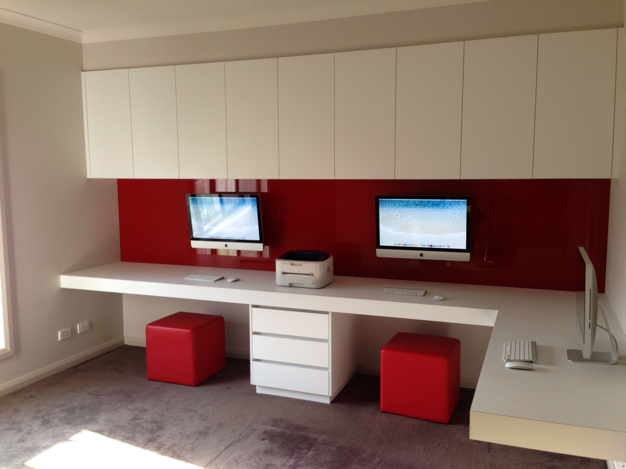 Imac 39 s wall mounted imac home office pinterest wall for Study room wall cabinets
