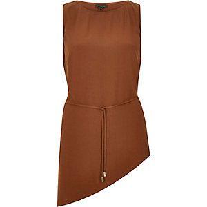 Dark brown asymmetric vest