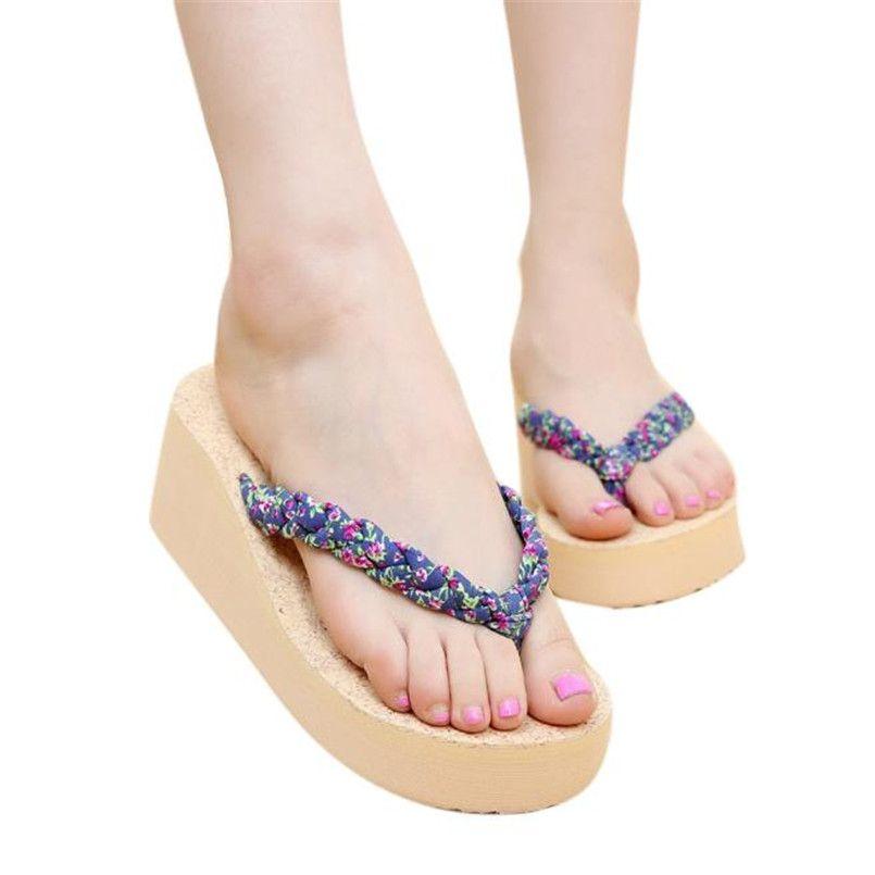 Women's Summer Bohemia Sandals Shoes Clip Toe Beach Platform Casual Flip Flops