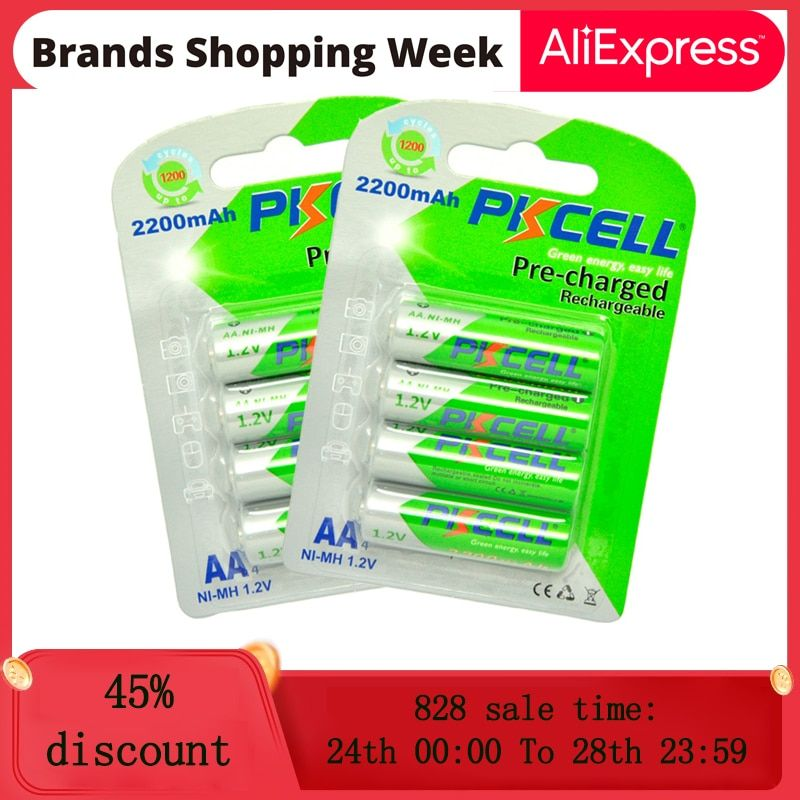 8pcs2card Pkcell Aa Rechargeable Battery Aa Nimh 1 2v 2200mah Ni Mh 2a Pre Charged Bateria Low Self Discharge Aa Batteries Nimh Rechargeable Batteries Recharge