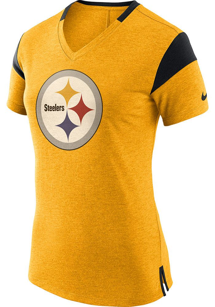 Nike Pittsburgh Steelers Womens Gold Fan V-Neck T-Shirt  3ef4c0150