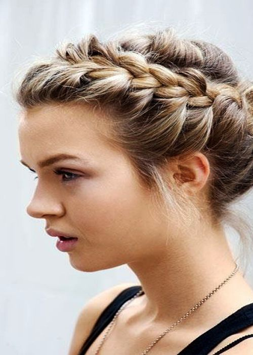 Front Side French Braid Bun Hair Style For Party Glance Perfect Hair Hair Styles Long Hair Styles