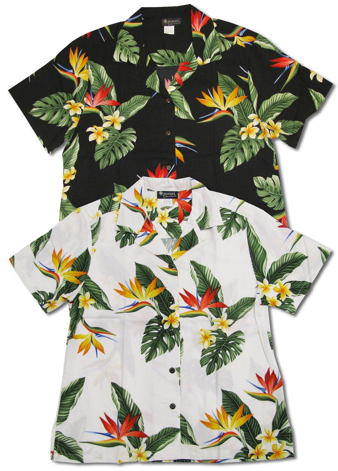 9a03aba05deb Bird of Paradise Display Hawaiian Tropical Aloha RJC brand, Puanani label  women's Shirt X-Small to Plus 2X created in Red, White and Black. Made in  Hawaii.