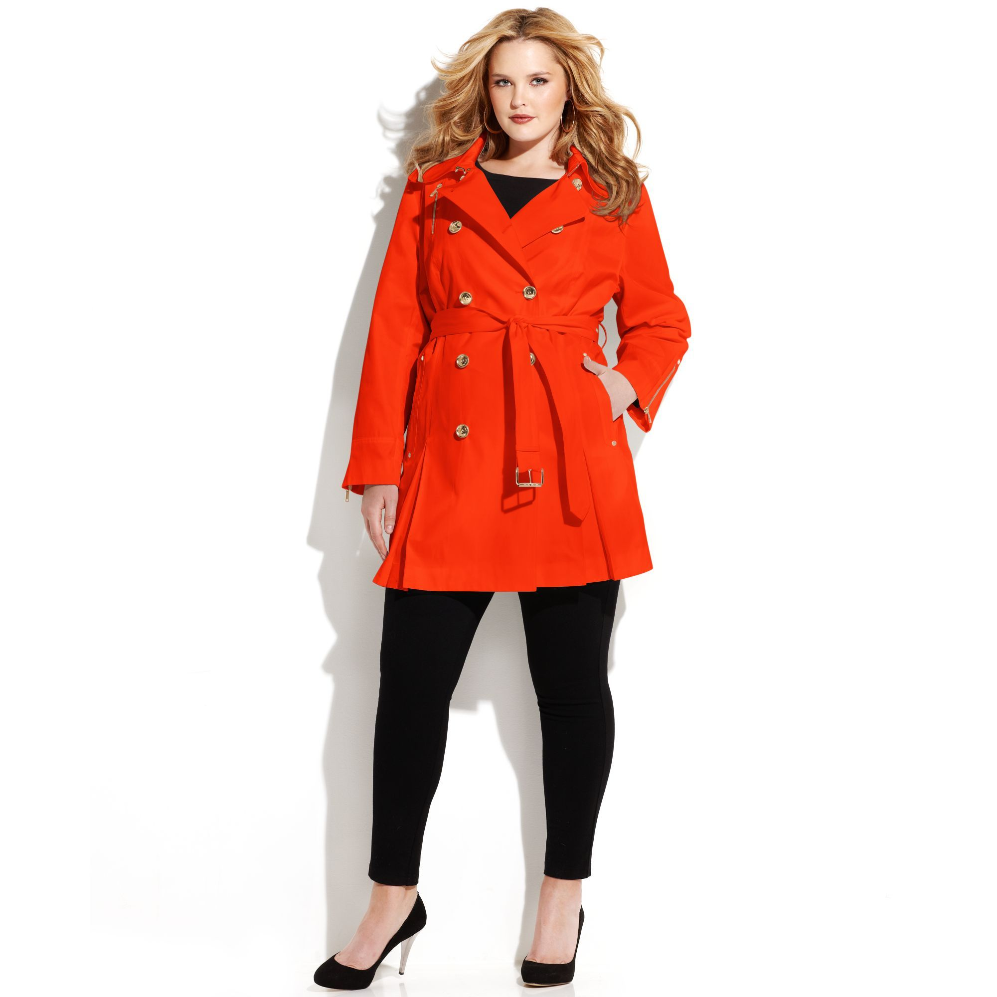 3cb8af8a073d1 Michael Kors Plus Size Double Breasted Belted Trench Coat in Red (Coral  Reef)