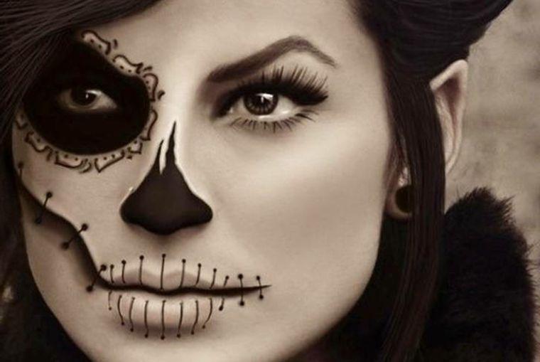 travestimento-halloween-donna-occhio-sfumato-nero-bocca-cucita ... ce406cfbef7a