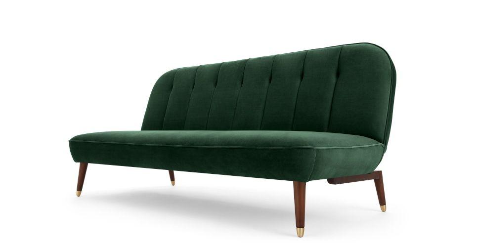 Margot Click Clack Sofa Bed Pine Green Velvet Made Com Canape Vert Canape Lit Salon Vert