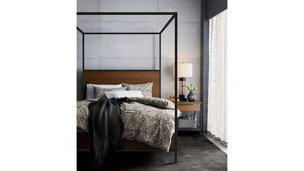 Photo of James Walnut with Black Frame Nightstand + Reviews | Crate and Barrel