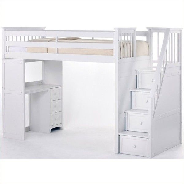 Schoolhouse Stairway Loft Bed White Loft Beds at Simply Bunk Beds This would be great with a vanity instead of a desk - bed with stairs and desk