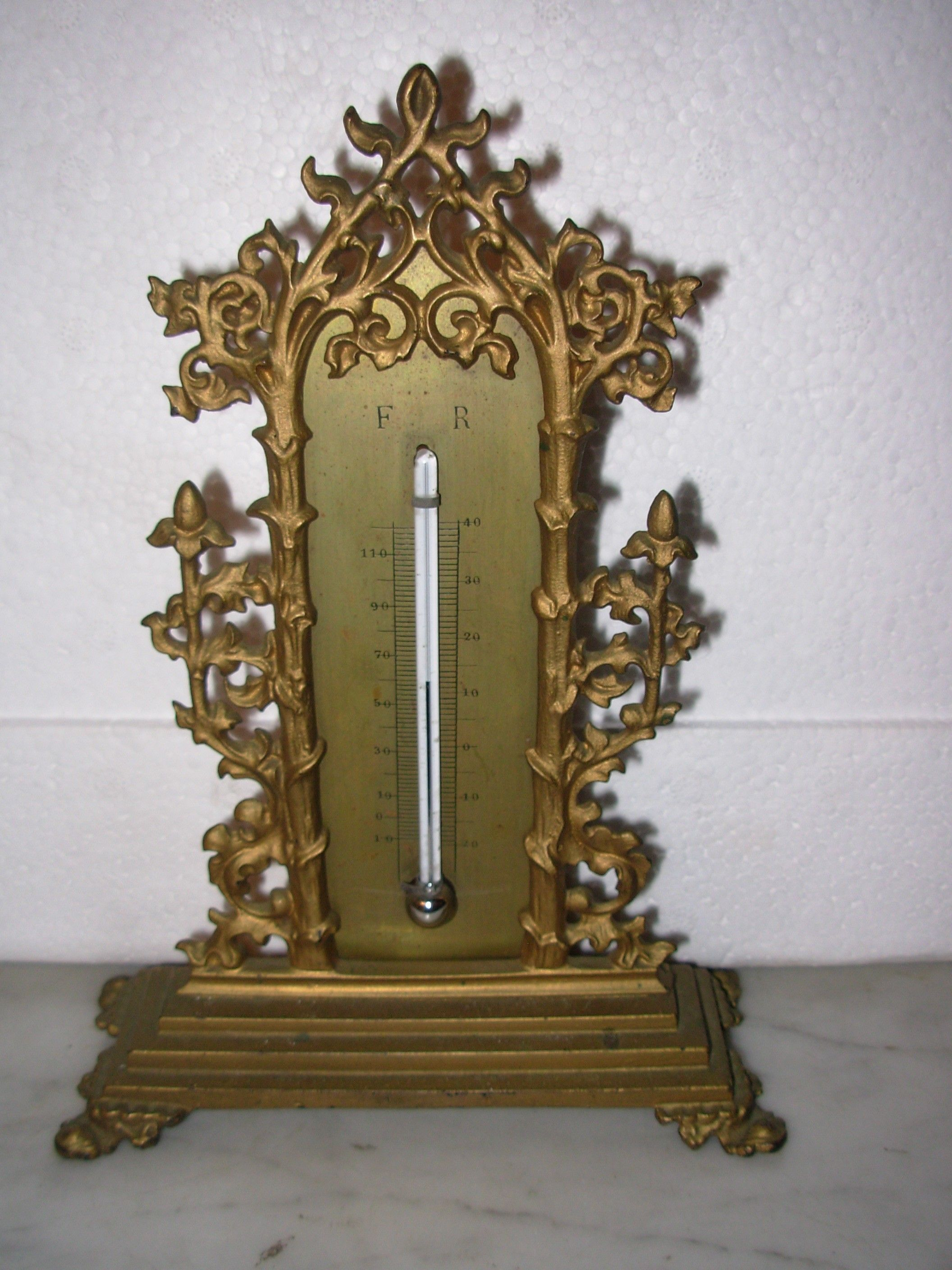 a gothic revival gilt brass thermometer 19thc the thermometer has
