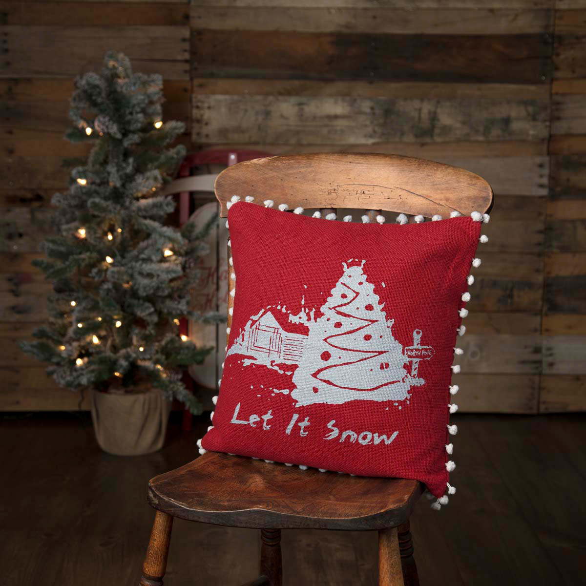 Burlap Red Let It Snow Pillow 16 Filled