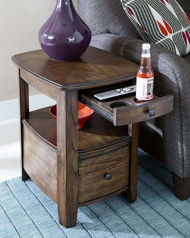 How Cool Is This Side Table With Built In Cup Holders We Re Digging It Cool Coffee Tables Coffee Table With Drawers Rustic Coffee Tables