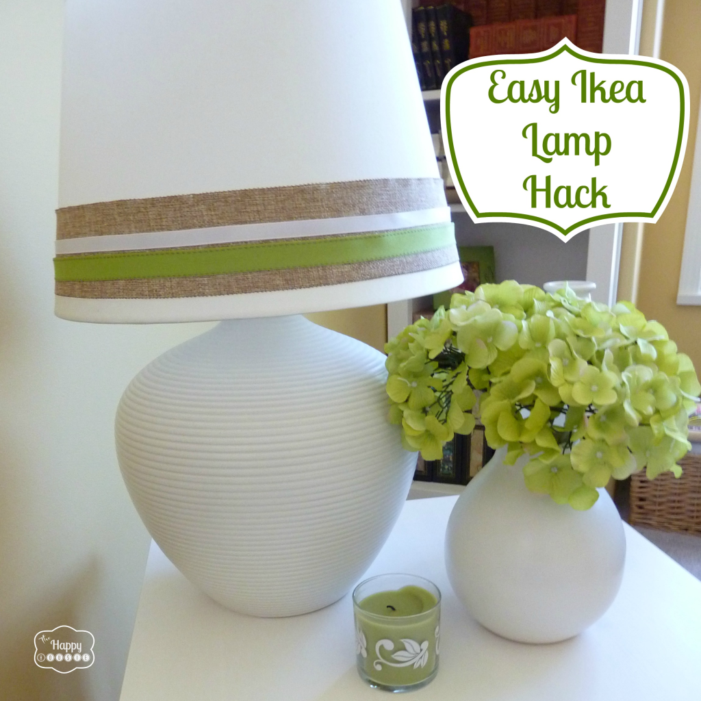 Easy Ikea Lamp Hack with Burlap and Ribbon